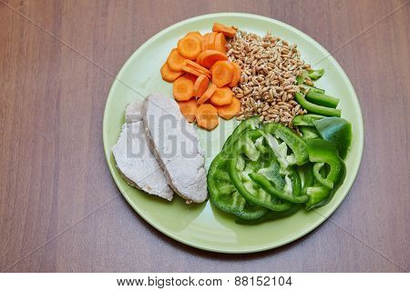 Fresh Cooked Chicken Or Turkey, Two Slices Lying On A Green Plate, Next Is Chopped Green Bell Pepper