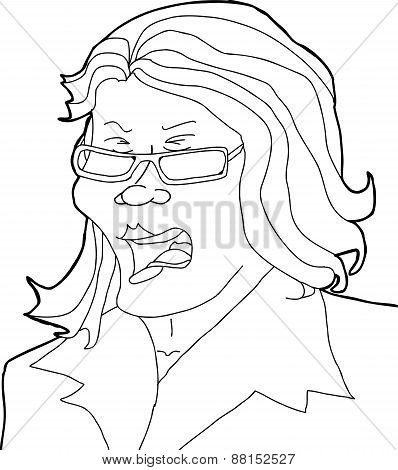 Outline Of Yelling Lady