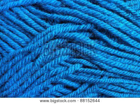 Blue Wool Threads Texture Close Up