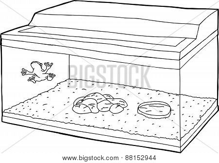 Outline Of Frog In Fish Tank