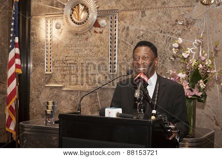 NEW YORK - APRIL 17, 2015: Soccer legend Pele at the ceremony to light the Empire State Building Cosmos Green to launch and celebrate the start of the teams 2015 spring season.