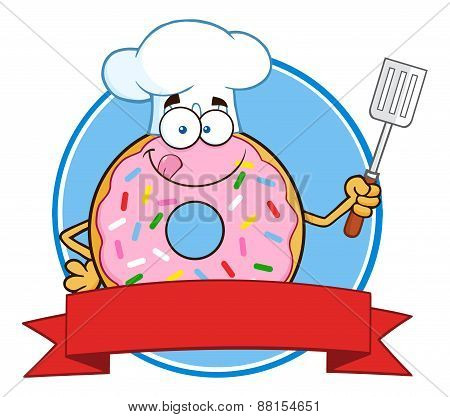 Chef Donut Cartoon Character With Sprinkles Circle Label
