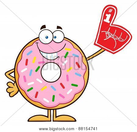 Smiling Donut Cartoon Character With Sprinkles Wearing A Foam Finger