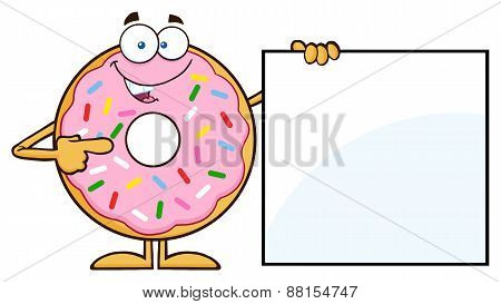Donut Cartoon Character With Sprinkles Showing A Blank Sign