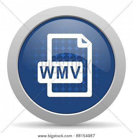 wmv file blue glossy web icon
