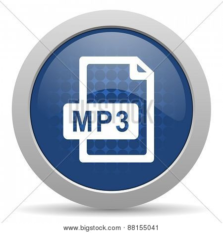 mp3 file blue glossy web icon