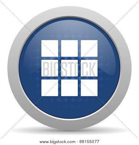 thumbnails grid blue glossy web icon