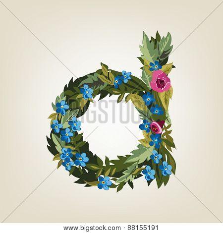 D letter. Flower  alphabet. Colorful font. Lowercase.  Vector illustration.
