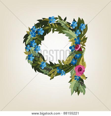 Q letter. Flower  alphabet. Colorful font. Lowercase.  Vector illustration.