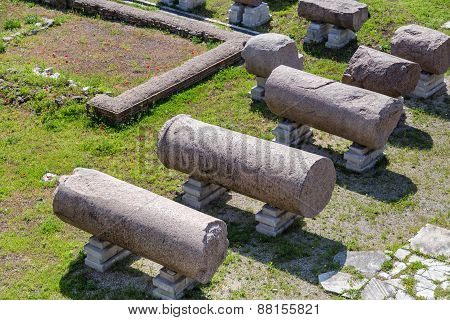 Roman Ruins: Columns On The Ground - Imperial Fora, Rome (italy)