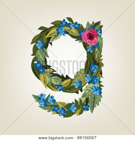 G letter. Flower  alphabet. Colorful font. Lowercase.  Vector illustration.