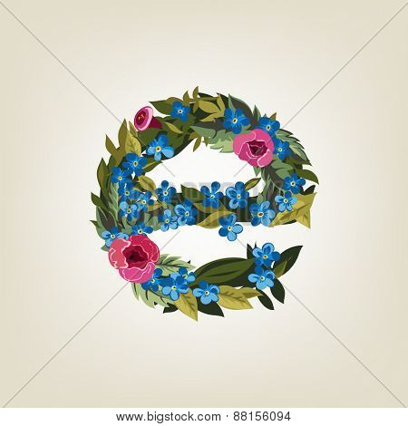 E letter. Flower  alphabet. Colorful font. Lowercase.  Vector illustration.