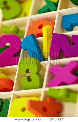 Wooden Box With Toy Characters And Numerals