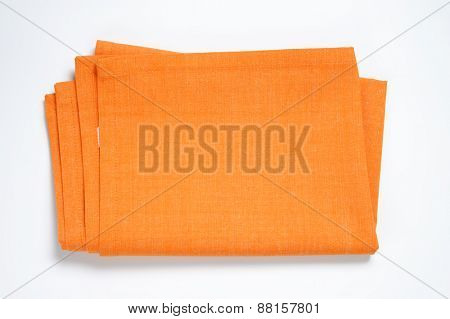 orange tablecloth on white background