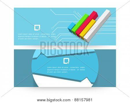 Business infographic website header or banner set with bar.