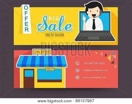 Website header or banner set of Big Sale and 24 hours open Self Service Center.
