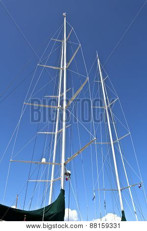 Masts Of A Luxury Sailboat