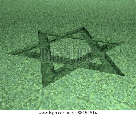 Stylized Image Star Of David Made In Stone Malachite