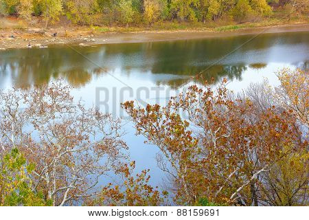 A view on Potomac River banks in autumn.