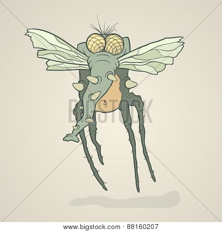 Illustration monster fly with long legs, wings and proboscis