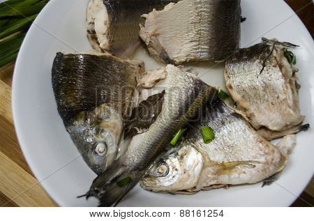 Boiled chunks of whitefish