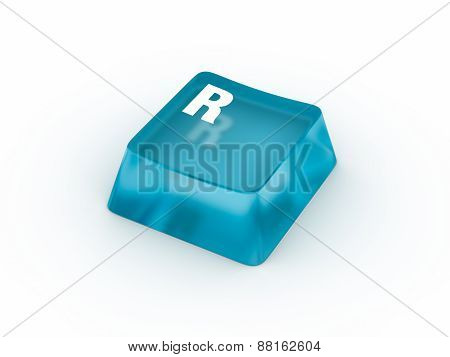 Letter R on transparent keyboard button