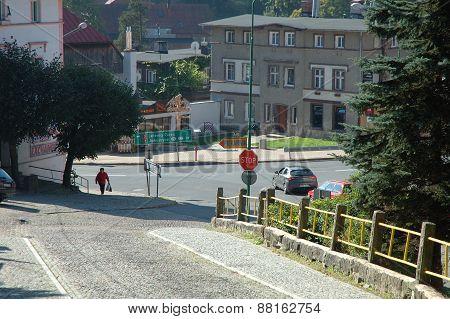 Cobblestone Street In Szklarska Poreba In Poland