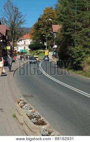 Main Street In Szklarska Poreba In Poland