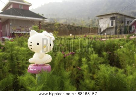 Zagreb , Croatia - March , 2015 : Hello Kitty Children Cartoon Character Plastic Doll ,product Shot