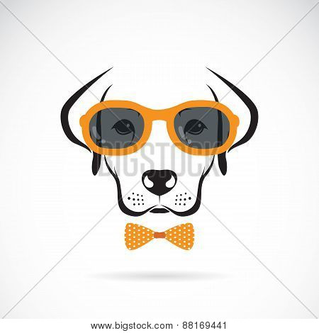 Vector Images Of Dog Labrador Wearing Glasses On White Background.