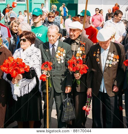 Unidentified Veterans During The Celebration Of Victory Day In B
