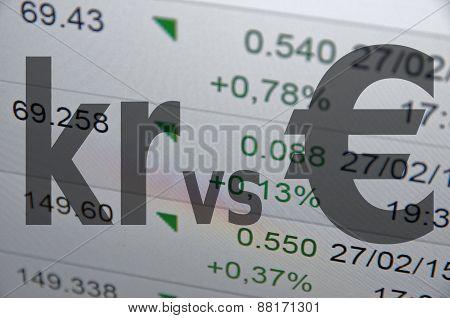 Nordic currency versus euro.