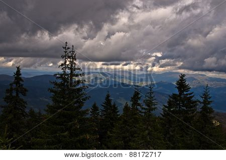 Landscape of Radocelo mountain with dark clouds before a storm