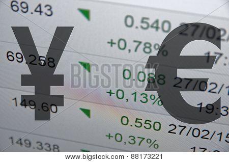 Japanese yen versus Euro.