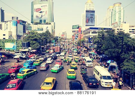 Traffic jam on the Centralworld area, January 18,2015 in Bangkok,Thailand.
