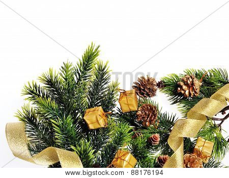 Christmas Tree Decoration, Cones, Gifts And Place For Your Text
