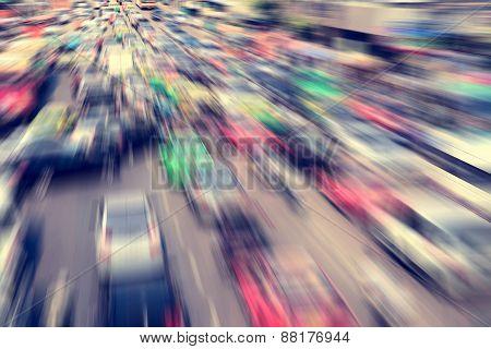 Traffic jam on the Centralworld area, January 18,2015 in Bangkok,Thailand.