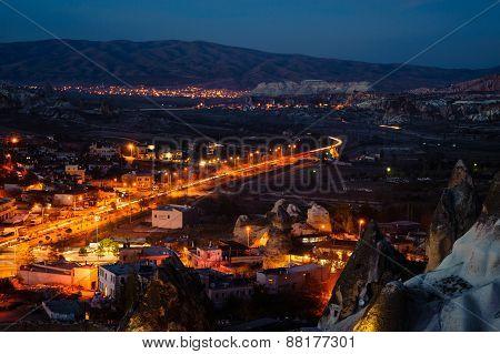GOREME, TURKEY - NOVEMBER 28, 2012: Night landscape in Goreme town, Cappadocia Turkey