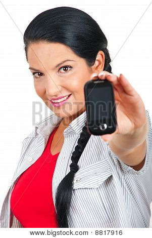 Woman Holding Phone Mobile