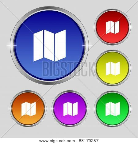 Map Icon Sign. Round Symbol On Bright Colourful Buttons. Vector