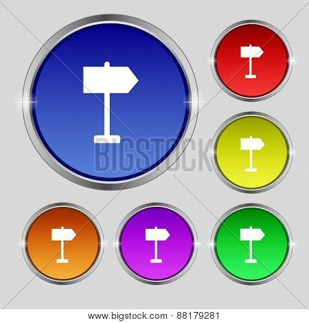 Signpost Icon Sign. Round Symbol On Bright Colourful Buttons. Vector