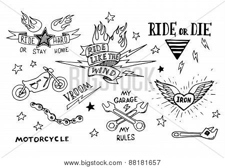 Traditional tattoo biker set