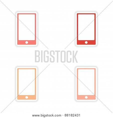 assembly realistic sticker design on paper touch Phone