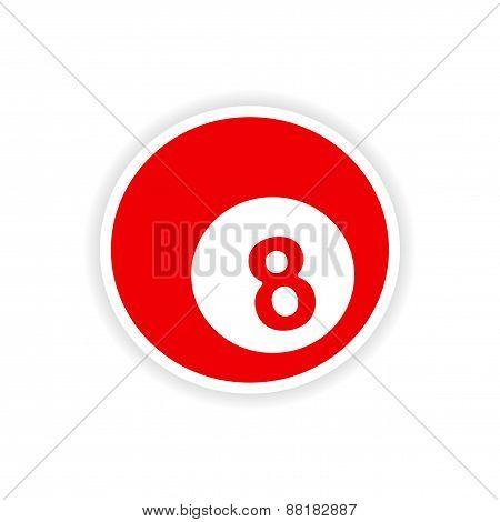 icon sticker realistic design on paper billiards