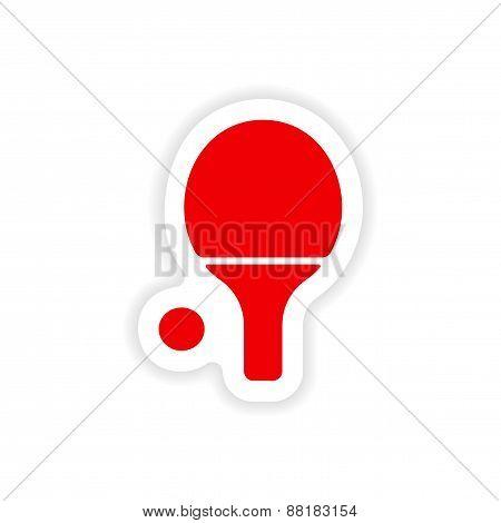 icon sticker realistic design on paper table tennis