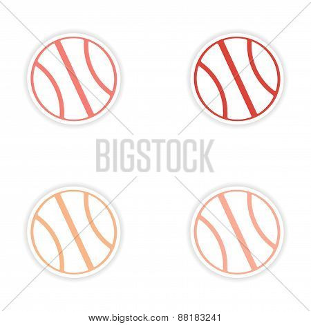 assembly realistic sticker design on paper basketball