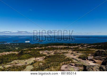 Cadillac Mountain And Cruise Ship