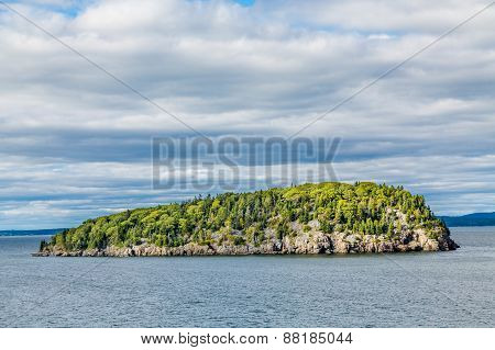 Green Trees On Rocky Island