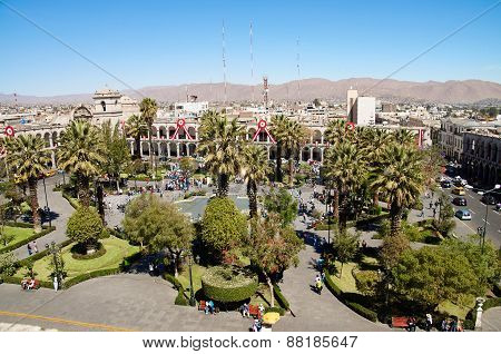 Plaza de Armas in Arequipa, Peru, South America