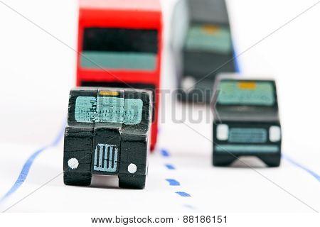 Traffic: Three Car And One Bus (left Focus)